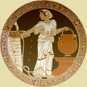 A woman draws water from a well, 5th century BC Greece.
